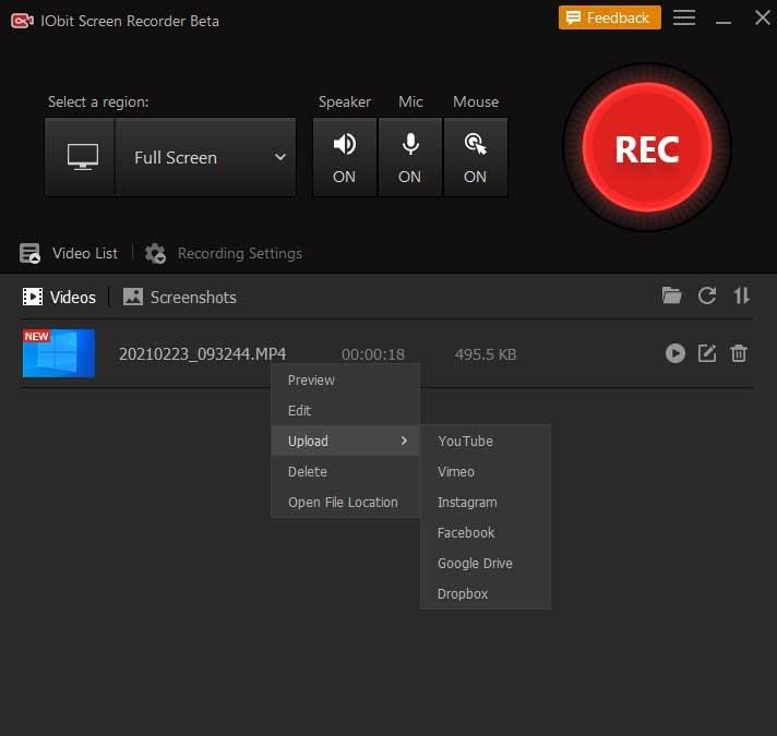 IObit Screen Recorder upload video to social networks